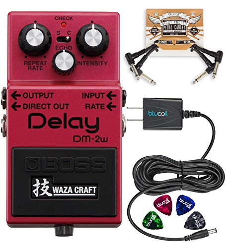 BOSS DM-2W Waza Craft Analog Delay Pedal Bundle with Blucoil Pedal Patch Cables (2-Pack), 9V DC Power Supply with Short Circuit Protection and 4-Pack of Celluloid Guitar Picks