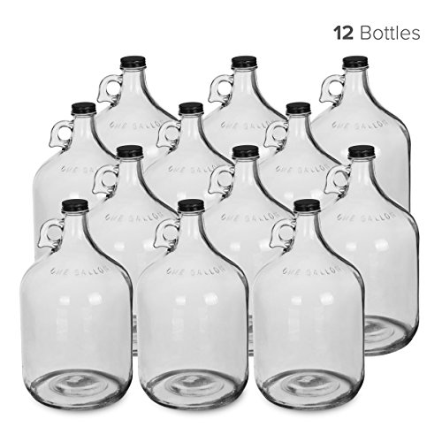 1 Gallon Glass Water Bottle Jug with 38 mm Metal Screw Cap (12)