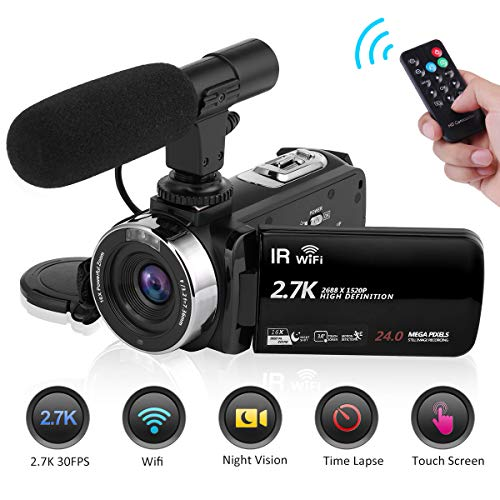 Seree Camcorder Video Camera 2.7K 30FPS WiFi Vlogging Camera Night Vision Digital Camera with Microphone Vlog Blogging Video Camera for YouTube