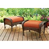 Azalea Ridge All-Weather Wicker Ottomans, Set of 2