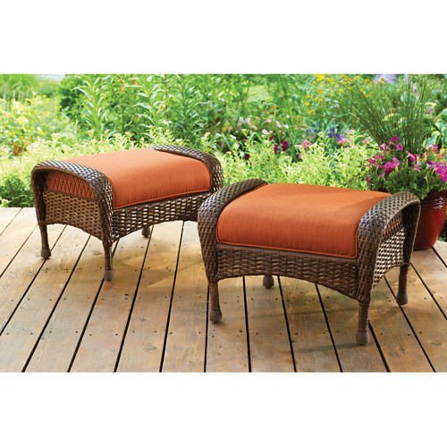 All Weather Ottoman - Azalea Ridge All-Weather Wicker Ottomans, Set of 2