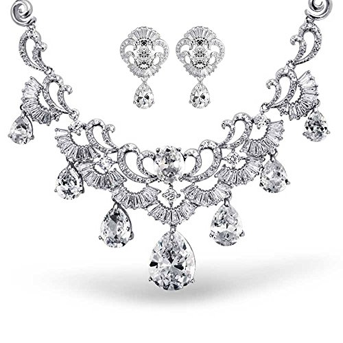 Bling Jewelry CZ Pear Vintage Style Statement Wedding Earrings Necklace Set Rhodium Plated by Bling Jewelry