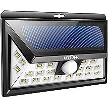 Litom Solar Lights Outdoor, Wireless 24 LED Motion Sensor Solar Lights with Wide Lighting Area, Easy Install Waterproof Security Lights for Front Door, Back Yard, Driveway, Garage