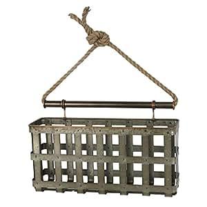 Foreside FWAD00633 Galvanized Lattice Wall Basket, Silver