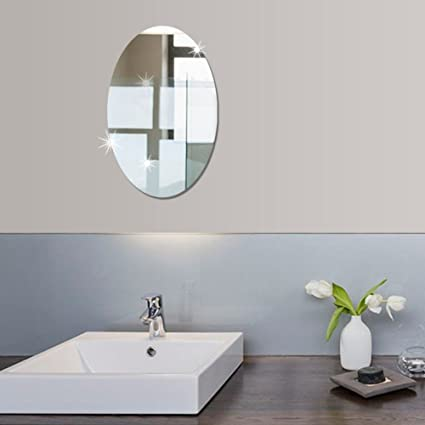 10.6x 16.5 Inch (small Size) Bathroom Self Adhesive Removable Oval Mirror  Wall