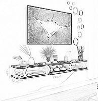 Racks, Estantes Y Cajones Estante Flotante Estante de Pared para Colgar TV Montado en la Pared Estante de Gabinete TV Telón de Fondo Rack de Almacenamiento Consola de TV Set de DVD