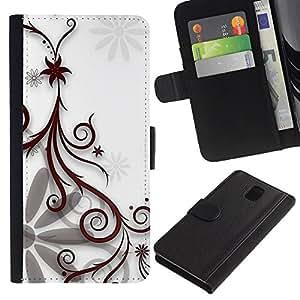 JackGot ( Floral Design Bianco ) Samsung Galaxy Note 3 III la tarjeta de Crédito Slots PU Funda de cuero Monedero caso cubierta de piel
