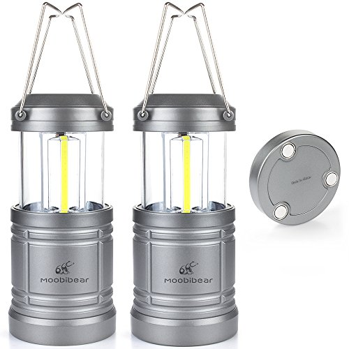 LED Camping Lantern Lights Collapsible Moobibear 500lm COB Technology Camping Lantern Battery Powered with Magnetic Base for Night, Fishing, Hiking, Emergencies