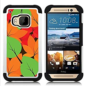 - Autumn Leaves Colors Pattern/ H??brido 3in1 Deluxe Impreso duro Soft Alto Impacto caja de la armadura Defender - SHIMIN CAO - For HTC ONE M9