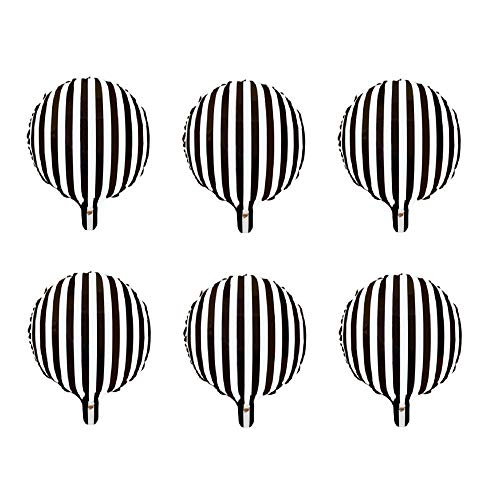 Black And White Striped Balloons (6pcs Foil Balloons Party Balloons Aluminum Helium Balloons for Party Decoration 18inch - Black and White Striped)