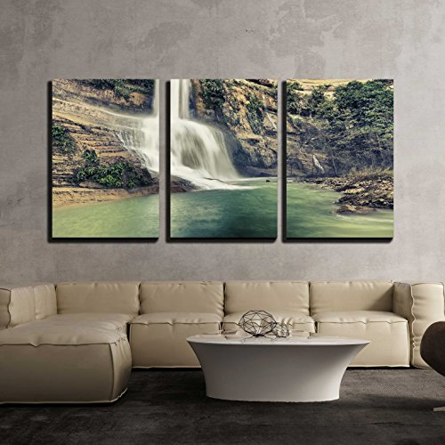 wall26 - 3 Piece Canvas Wall Art - Beautiful Waterfall Vintage Style. Bohol. Philippines - Modern Home Decor Stretched and Framed Ready to Hang - 24