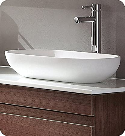 Fresca FVS8054WH Oval Acrylic Modern Bathroom Vessel Sink, White