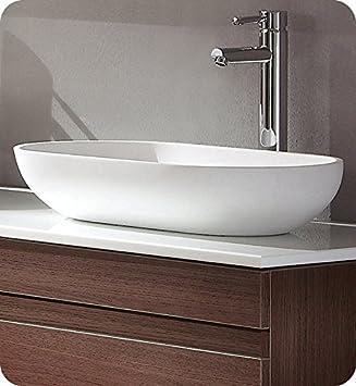 Fresca FVS8054WH Oval Acrylic Modern Bathroom Vessel Sink, White ...