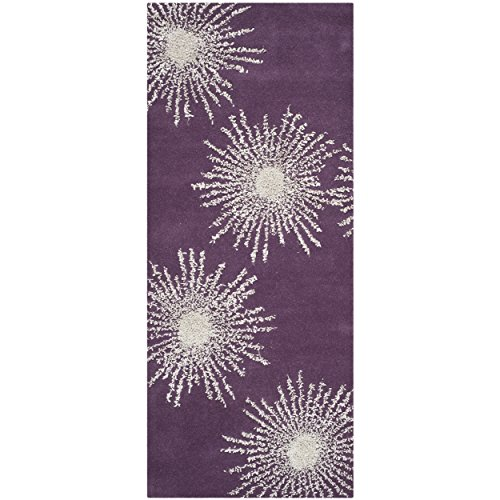 Safavieh Soho Collection SOH712P Handmade Fireworks Purple and Ivory Premium Wool Area Rug (2'6