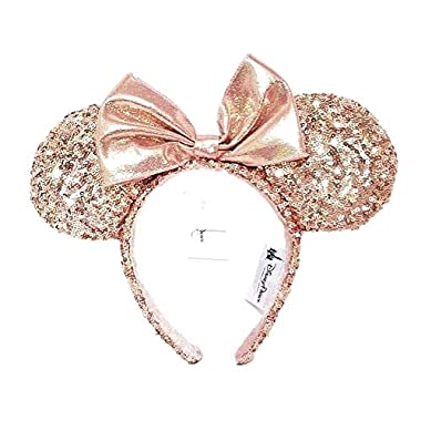 Disney Parks Minnie Mouse Rose Gold Sequined Ear Headband