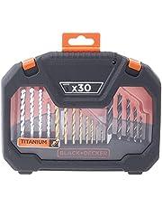Black+Decker 30 Pieces Titanium Bit Accessory Set in Kitbox for Wood, Metal & Concrete Drilling & Screwdriving, Orange/Black - A7183-XJ, 2 Years Warranty