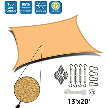 DOEWORKS Rectangle 13' X 20' Sun Shade Sail with Stainless Steel Hardware Kit, Idea for Outdoor Patio, Sand
