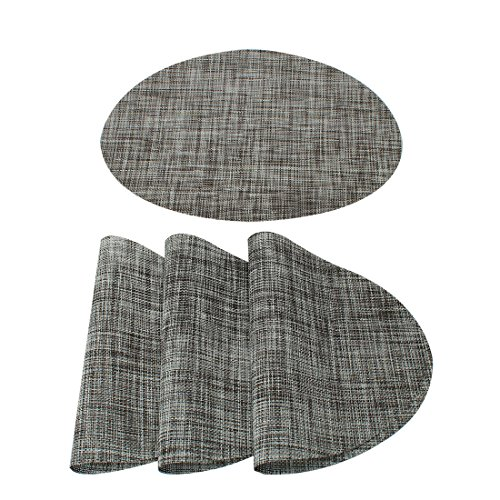 uxcell Washable Placemats Set of 4 Heat-Resistant Cross Woven Non-Slip Insulation Mats for Kitchen Dining Table, Oval, Gray, 18
