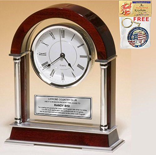 - Personalized Large Arch Cherry Mantle Clock with Chrome Columns and Silver Accents. Unique Retirement Gift, Anniversary, Wedding or Employee Recognition Award