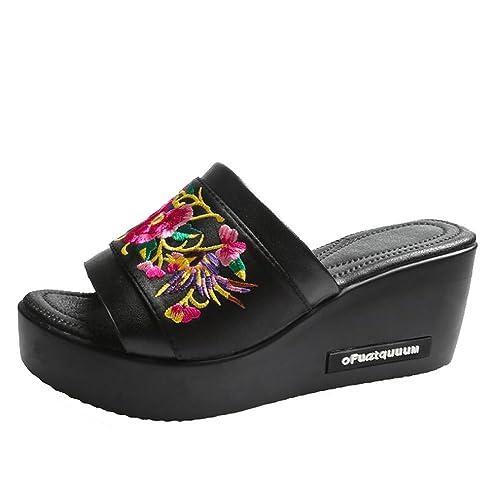 Zapatillas, Verano, Moda, Prendas de Vestir Exteriores, Estilo étnico, Pendiente, Bordado, Aumento, Sandalias y Zapatillas de Mujer: Amazon.es: Zapatos y ...