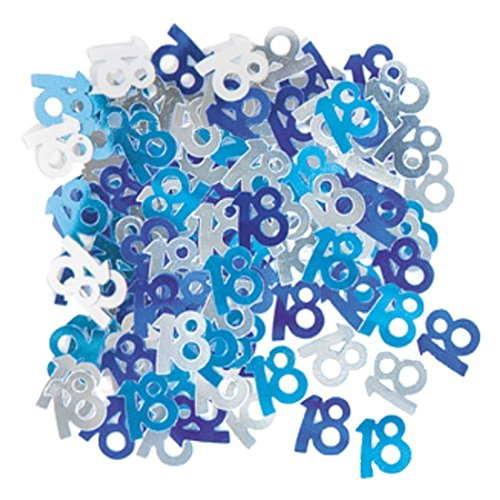 SODIAL(R) Blue + light blue + silver Foil 18th Birthday Confetti 2Pack -