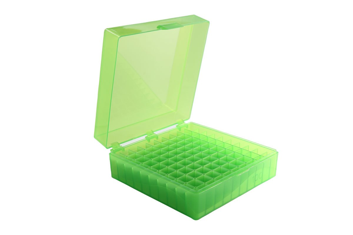 Heathrow Scientific HS120033 100 Well Microtube Storage Box, Cryogenic Box, Tube Storage, 1.5mL/2.0mL Tubes,Polypropylene, Green, (5/pk) by Heathrow Scientific