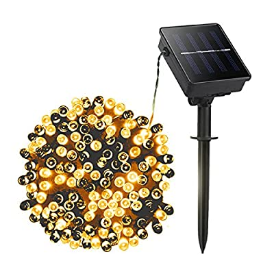 Tento Lighting Solar Lights String Outdoor 36ft 12m 100 LED 8 Modes Solar Powered Starry Lighting Waterproof Christmas Fairy String Lights