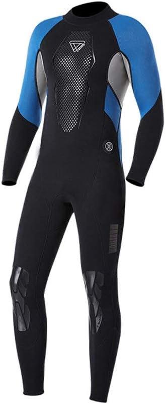 人のための長袖のウェットスーツの紫外線保護ネオプレン3mmの全身の潜水服 (色 : 青, サイズ : XXL) 青 XX-Large