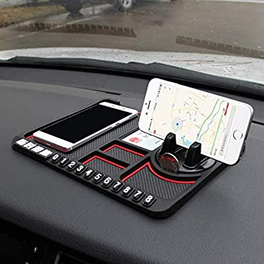 Lukzer 1 Pc Dashboard Mat Multifunction Stable Anti-Slip Car Phone Mount/Non-Slip Mat Phone Dashboard Pad Mat/Navigation Holder Tray with Parking Phone Number Applies (Red) 6