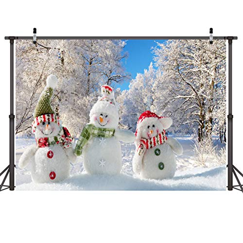 LYWYGG 7x5FT Vinyl Photography Backdrop Christmas Theme Cute Snowman White Snow Tree Photographic Background for Studio Photo Props CP-88