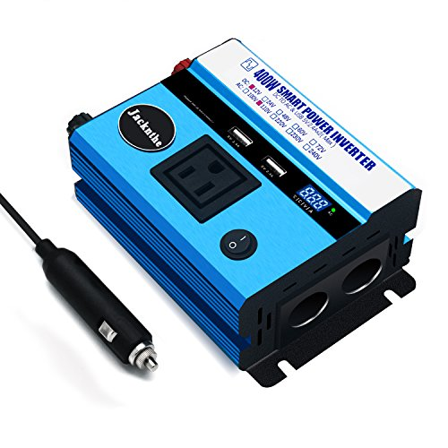 Jacknthe 400W Power Inverter for Car DC 12V to 110V AC Converter with AC Outlet 4.8A Dual USB Ports and Digital Display 2 Cigarette Lighter Sockets