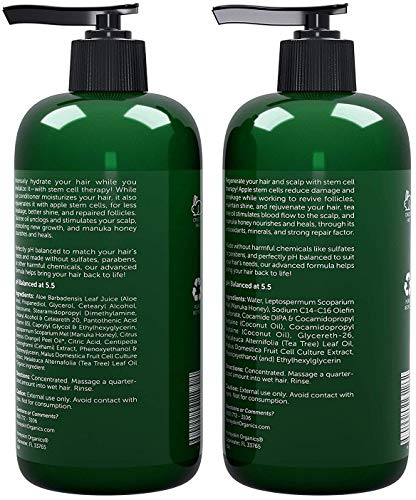 Tea Tree Oil Shampoo Conditioner Set - Manuka Honey, Stem Cell & Coconut - Dandruff & Scalp Acne Treatment - Soothes Itchy Scalp & Deep Conditioner - Paraben & Sulfate Free - Made in USA (16oz)