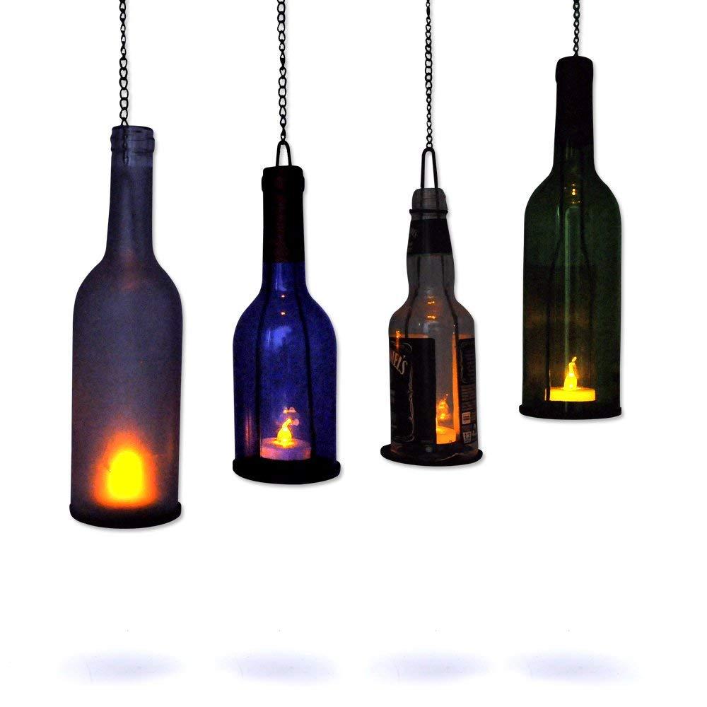 AceList Hanging Candle Holder, 4 Sets Bottle Lamp Hanger with Flickering Tea Light for Wine Beer Bottle Jar DIY Bottle Cutting Gift