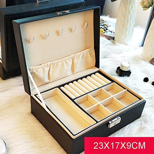 2層のジュエリーディスプレイ収納ボックス、人工皮革ドレッシングテーブルジュエリー仕上げボックス、セキュリティロックデザイン、サイズ:23X17X9CM