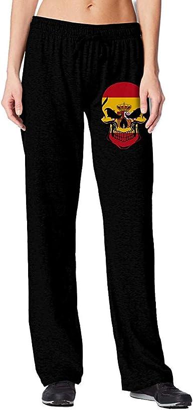 Bu-BY Pantalones de chándal de Calavera con Bandera de España para ...