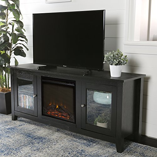 New 58 Inch Wide Black Fireplace Television Stand with Glass Doors - Glass Mdf Tv Stand