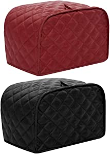 "A-code 4 Slice Toaster Cover, Dustproof Fingerprint Protectors and Greasy Protection Anti-sputtering Machine Washable Women Gift (Red, 12"" x 11"" x 8.5"")"