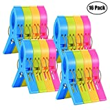 16 Pack Bed Towel Clips Fashion Color beach towel pack for Beach Chair or Pool Loungers on Your Cruise-jumbo Size Plastic Chair Towel Clips Clamp Holder-keep Your Towel From Blowing Away,clothes Lines (16 Pcs)