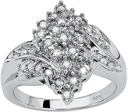 White Ice Diamond Platinum over .925 Sterling Silver Cluster Ring (.41 cttw, HI Color, I9 Clarity)