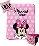 Jay Franco Disney Minnie Mouse XOXO Kids 3 Piece Plush Throw, Pillow & Collapsible Storage Box Set (Official Disney Product)