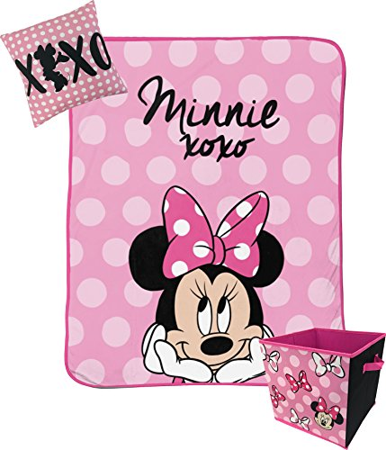 Jay Franco Disney Minnie Mouse XOXO Kids 3 Piece Plush Throw, Pillow & Collapsible Storage Box Set (Official Disney Product) ()