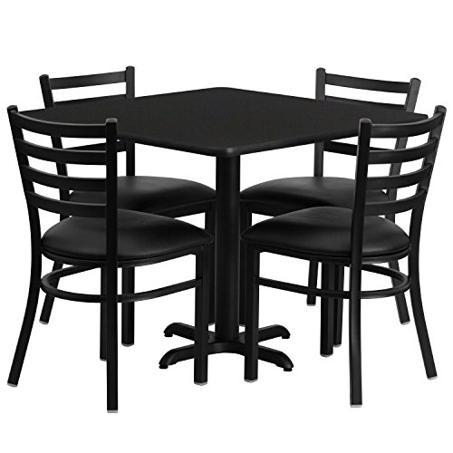 Office Steel Conference Table - Flash Furniture 36'' Square Black Laminate Table Set with 4 Ladder Back Metal Chairs - Black Vinyl Seat
