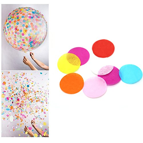 HUELE 1 inch Circles Tissue Paper Confetti for party Balloon Decorations --Multicolor, 30g (about (Tissue Paper Confetti)