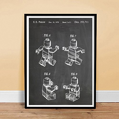 LEGO 3D Minifigure Poster Toy Building Construction Blocks Blackboard 1979 US Patent Print Mini