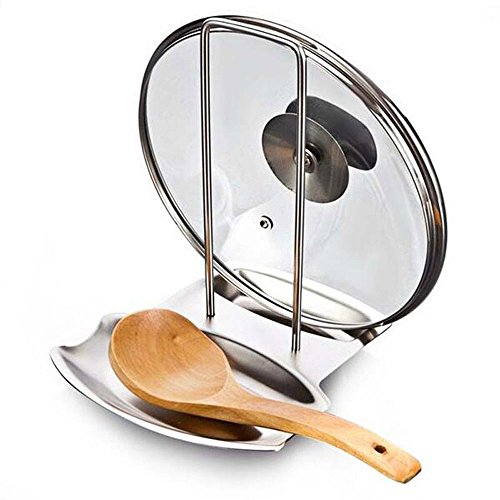 Pevor Lid and Spoon Rest, Stainless Steel Pan Pot Cover Lid Rack Stand Spoon Rest Stove Organizer Storage Soup Spoon Holder for Home Kitchen and Bar Tools, Silver