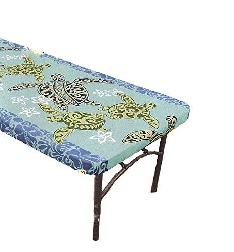 Hawaiian Tropical Fabric Tablecloth for 6' Center-fold Table, Blue Sea turtle -