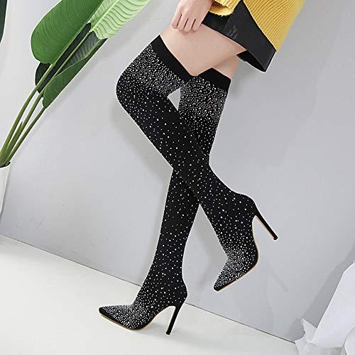 Mujer Negro De Para Caña Botas Muslo Tacónbotitas Cristales Zapatos Luckygirls Alta 12 5cm 7qEYqx