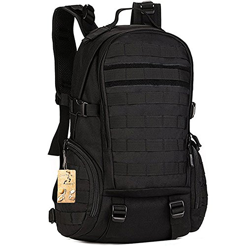 CREATOR 35L Tactical School Backpack Outdoor Sports Backpack Assault Daypack Military Rucksack with Carabiner Backpack for Hiking Cycling Travelling Camping Trekking Climbing - Black