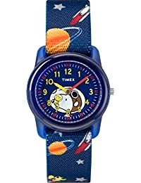 Timex Kid's Casual x Peanuts – Snoopy & Outer Space TW2R418002Y Blue Dial and Blue Elastic Fabric Band Watch