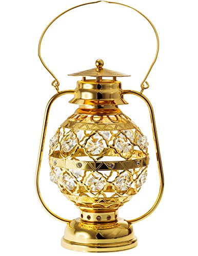 Lantern 24k Gold Plated with Sparkling Clear Spectra Crystals by Swarovski and Multicolor LED Accents